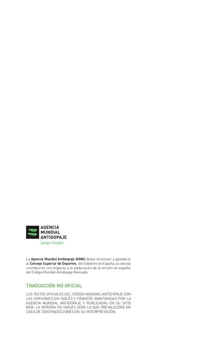 codigo mundial antidopaje                 28/3/08          11:17        Página 1        La Agencia Mundial Antidopaje (AMA...