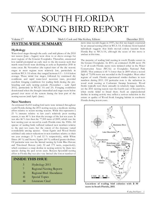 SOUTH FLORIDA                WADING BIRD REPORTVolume 17                                       Mark I. Cook and Mac Kobza,...
