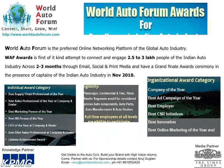 Knowledge Partner Media Partner W orld  A uto  F orum  is the preferred Online Networking Platform of the Global Auto Indu...