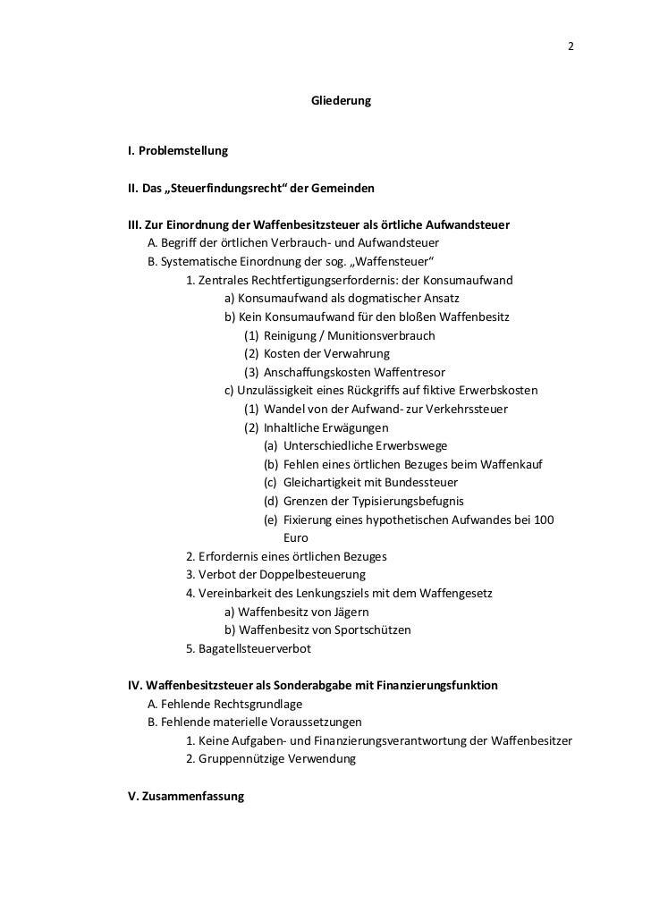 """2                                  GliederungI. ProblemstellungII. Das """"Steuerfindungsrecht"""" der GemeindenIII. Zur Einordn..."""