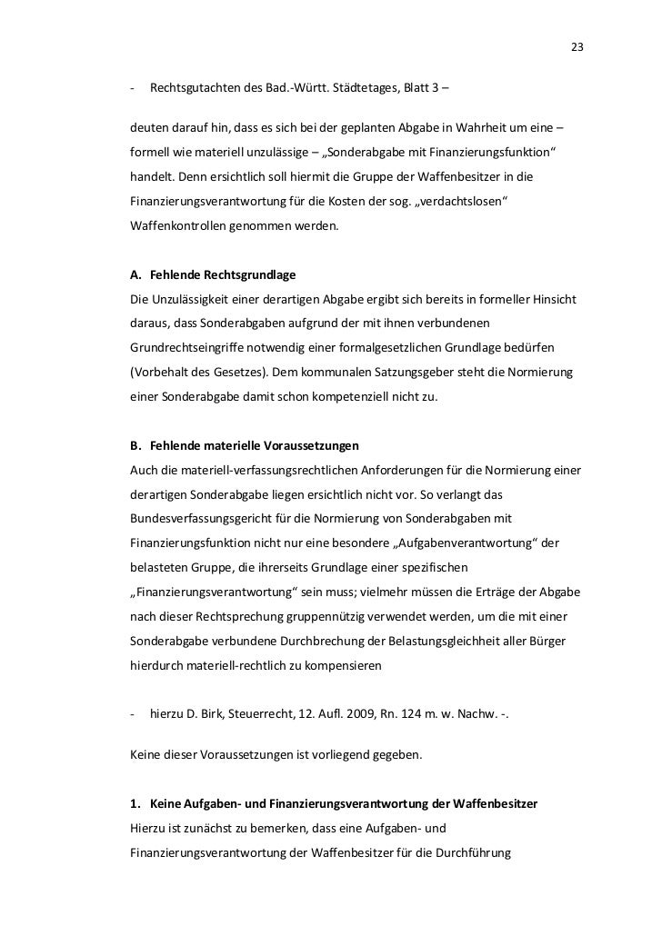23-   Rechtsgutachten des Bad.-Württ. Städtetages, Blatt 3 –deuten darauf hin, dass es sich bei der geplanten Abgabe in Wa...