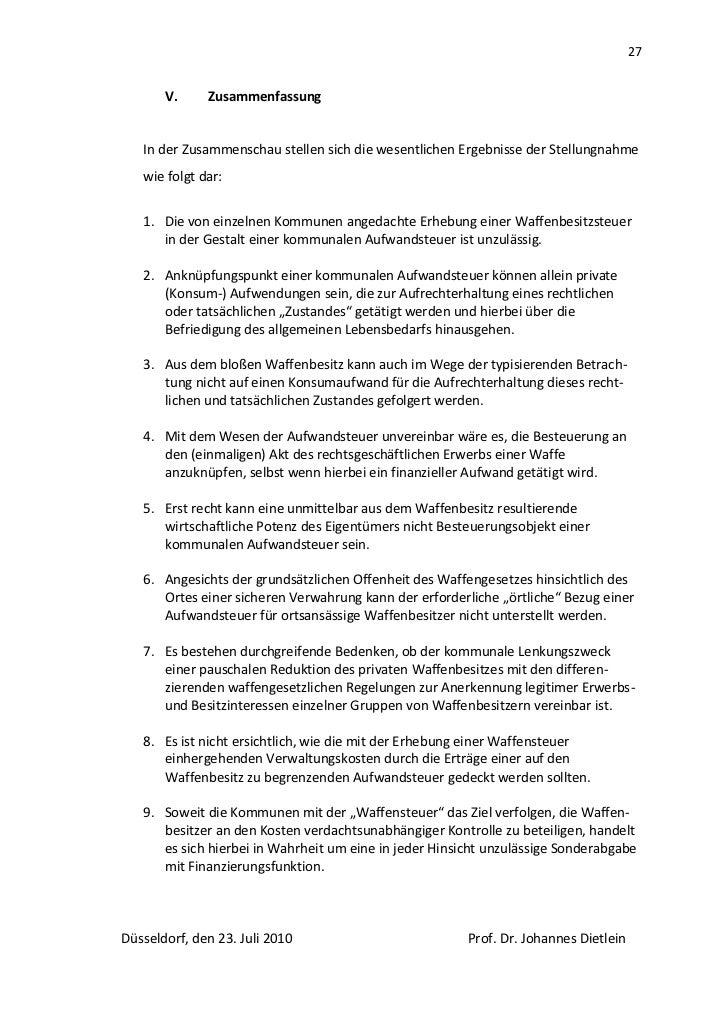 27       V.     Zusammenfassung   In der Zusammenschau stellen sich die wesentlichen Ergebnisse der Stellungnahme   wie fo...