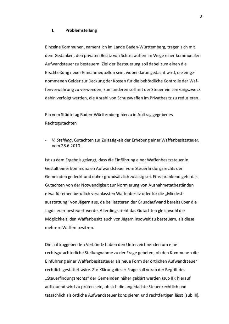3    I.     ProblemstellungEinzelne Kommunen, namentlich im Lande Baden-Württemberg, tragen sich mitdem Gedanken, den priv...
