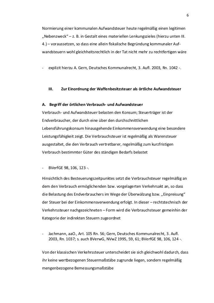 """6Normierung einer kommunalen Aufwandsteuer heute regelmäßig einen legitimen""""Nebenzweck"""" – z. B. in Gestalt eines materiell..."""