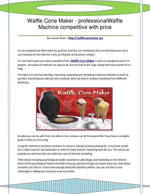 Waffle Cone Maker - professionalWaffle       Machine competitive with price______________________________________         ...