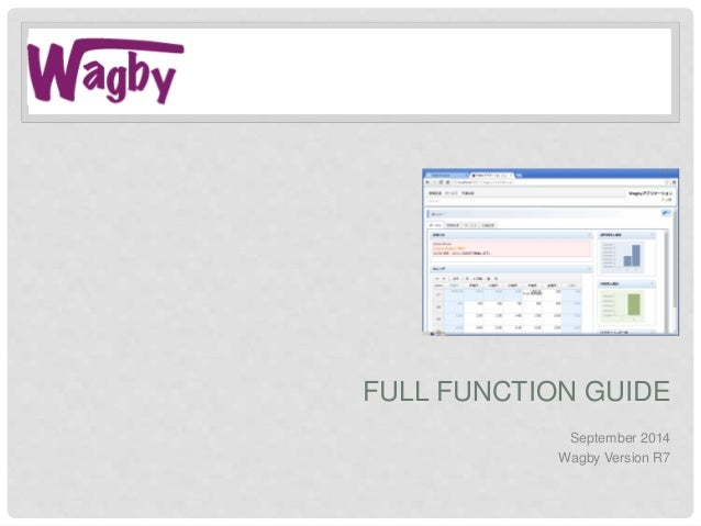 FULL FUNCTION GUIDE September 2014 Wagby Version R7
