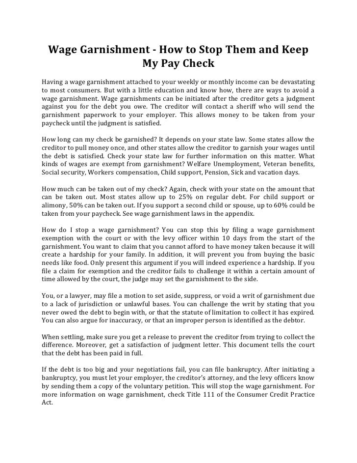 Sample Hardship Letter For Wage Garnishment