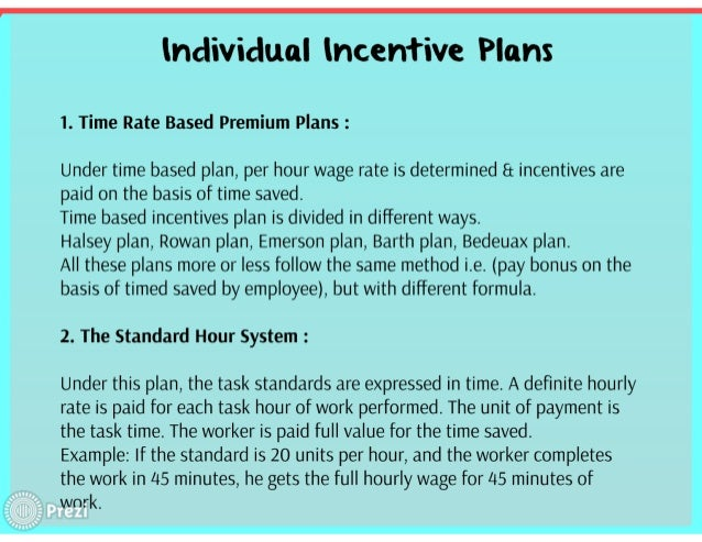 Wage incentive plans