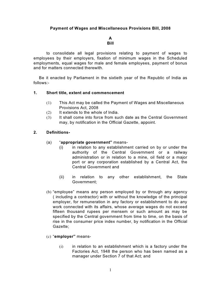 Payment of Wages and Miscellaneous Provisions Bill, 2008                                          A                       ...