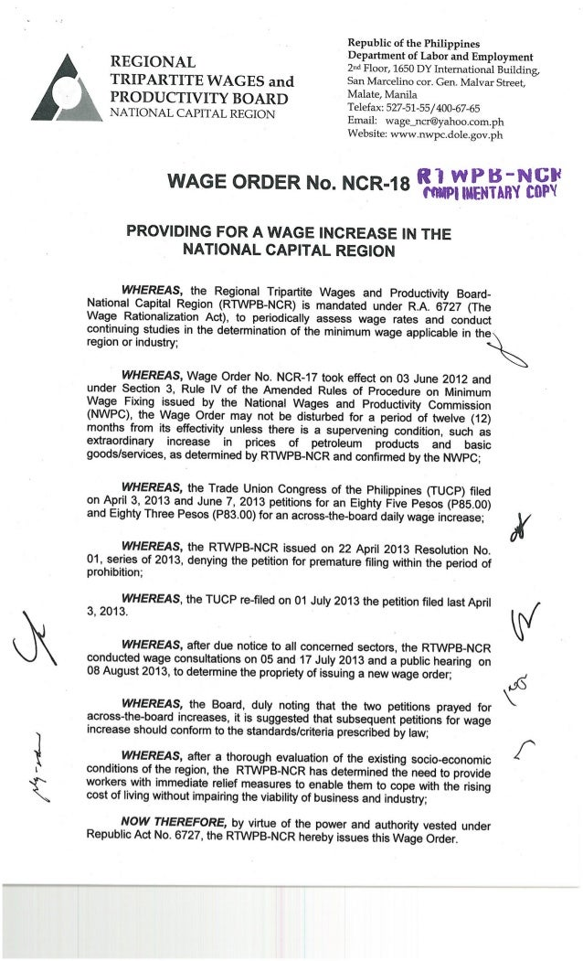 Wage Order No. 18 (National Capital Region)