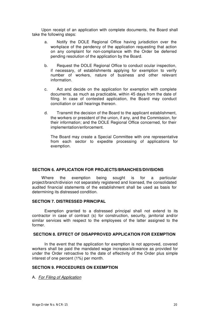 wage order no ncr 15 effective 1 2010 implementing rules ncr 15 19 20