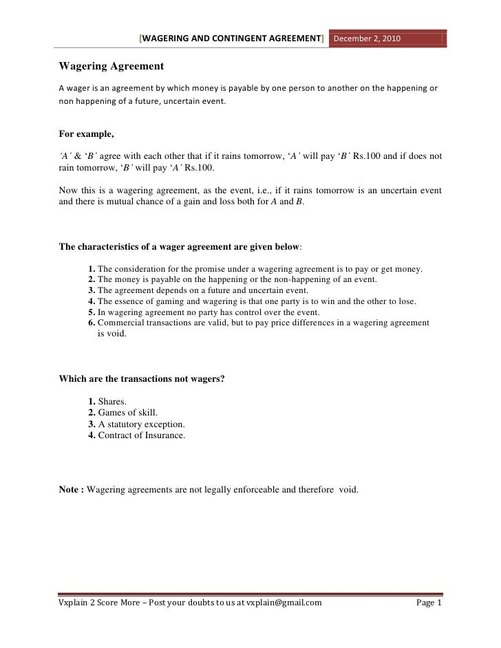 Wagering Agreement Revision Sheet