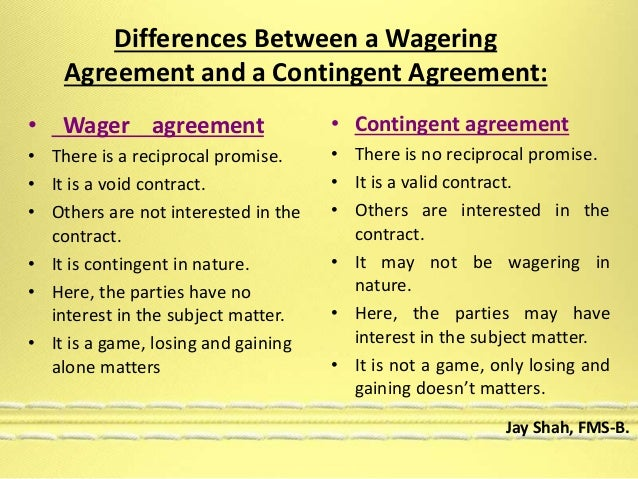 Wagering  Contingent Contracts