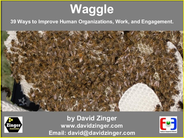 by David Zingerwww.davidzinger.comEmail: david@davidzinger.comWaggle39 Ways to Improve Human Organizations, Work, and Enga...