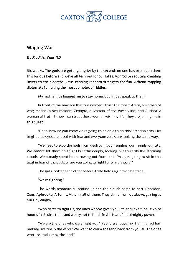 Waging war, By Madeleina A. Year 11D