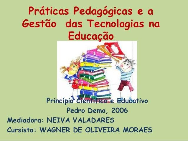 Práticas Pedagógicas e a Gestão das Tecnologias na Educação Princípio Científico e Educativo Pedro Demo, 2006 Mediadora: N...