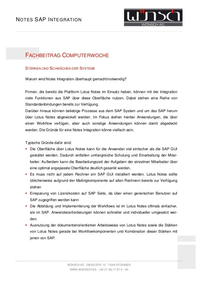 N OTES SAP I NTEGRATION   FACHBEITRAG COMPUTERWOCHE   STÄRKEN UND SCHWÄCHEN DER SYSTEME   Warum wird Notes Integration übe...