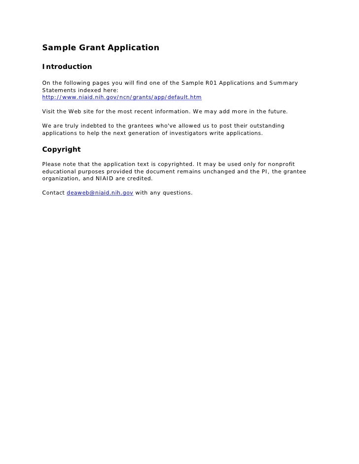 Sample Grant ApplicationIntroductionOn The Following Pages You Will Find  One Of The Sample R01 Applications And ...