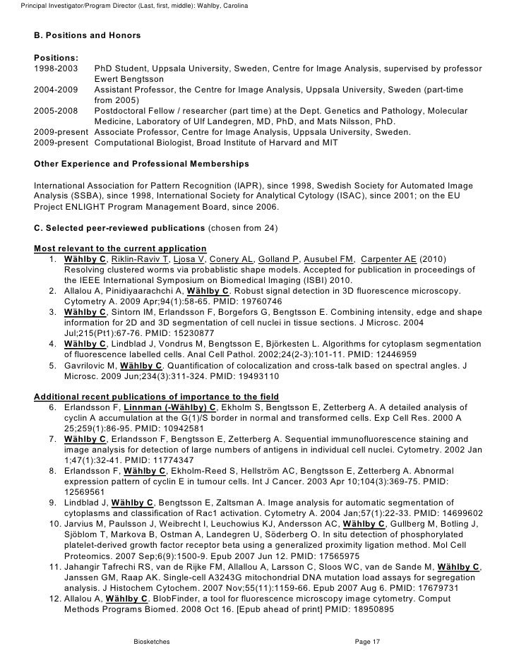 Full nih grant proposal with comments biosketches page 16 19 pronofoot35fo Images