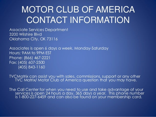 Tvc motor club of america phone number for Mca motor club of america scam