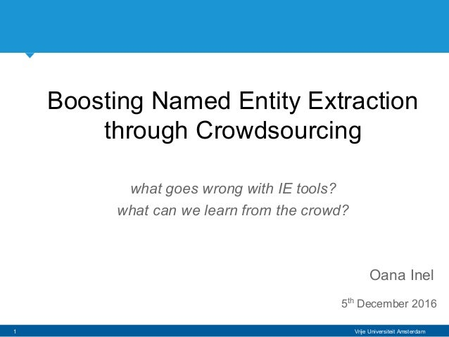 Vrije Universiteit Amsterdam Boosting Named Entity Extraction through Crowdsourcing what goes wrong with IE tools? what ca...