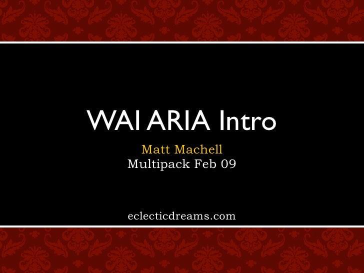 WAI ARIA Intro    Matt Machell   Multipack Feb 09      eclecticdreams.com