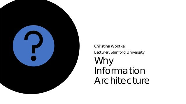 Why Information Architecture Christina Wodtke Lecturer, Stanford University