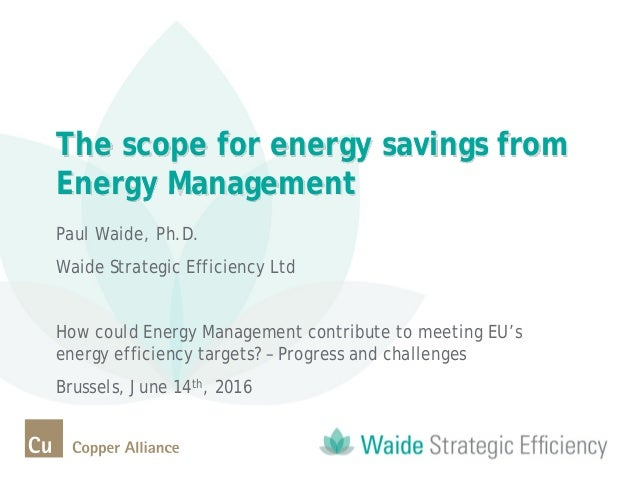 The scope for energy savings from Energy Management Paul Waide, Ph.D. Waide Strategic Efficiency Ltd How could Energy Mana...
