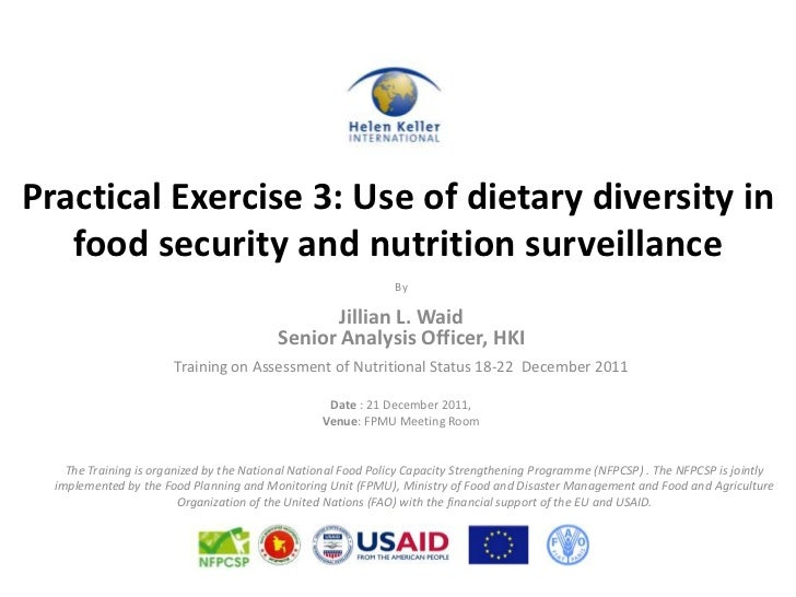 Practical Exercise 3: Use of dietary diversity in   food security and nutrition surveillance                              ...