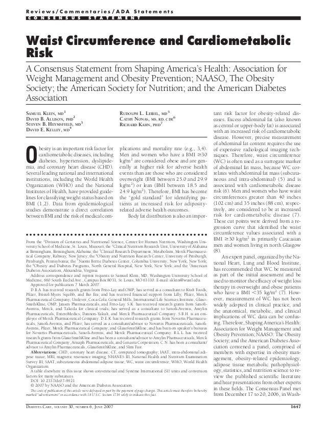 Waist Circumference and Cardiometabolic Risk A Consensus Statement from Shaping America's Health: Association for Weight M...