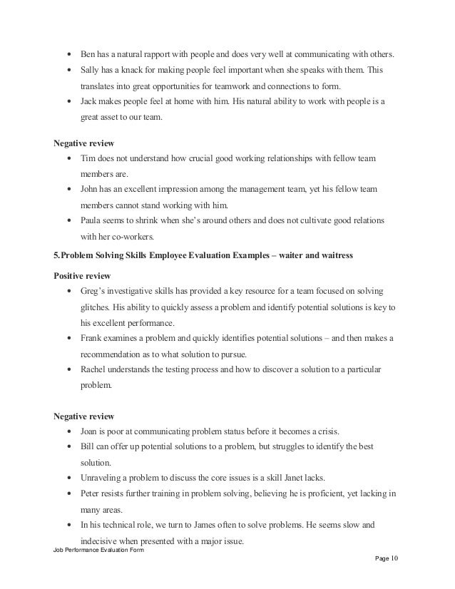 interpersonal skills performance review phrases waiter and waitress positive review job performance evaluation form page 9 10