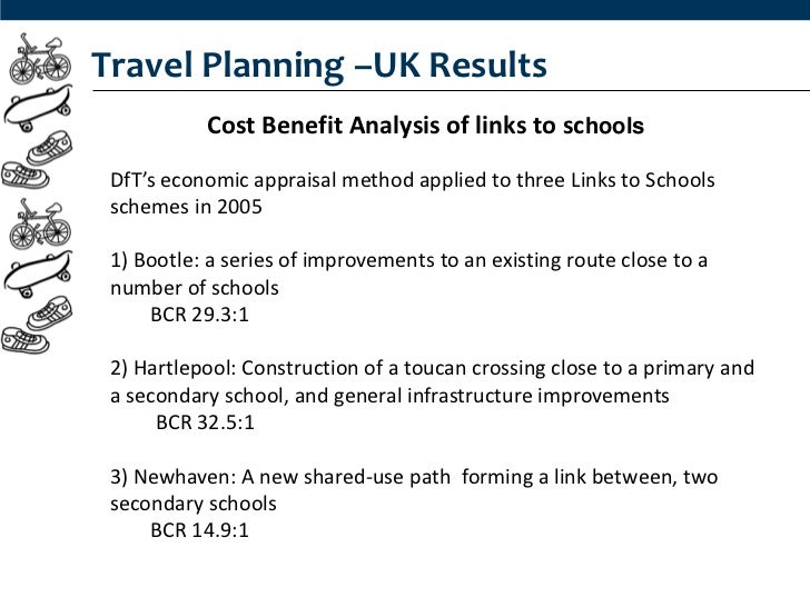 Travel Planning –UK Results           Cost Benefit Analysis of links to schools DfT's economic appraisal method applied to...