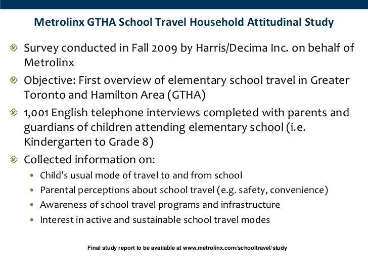 Metrolinx GTHA School Travel Household Attitudinal StudySurvey conducted in Fall 2009 by Harris/Decima Inc. on behalf ofMe...