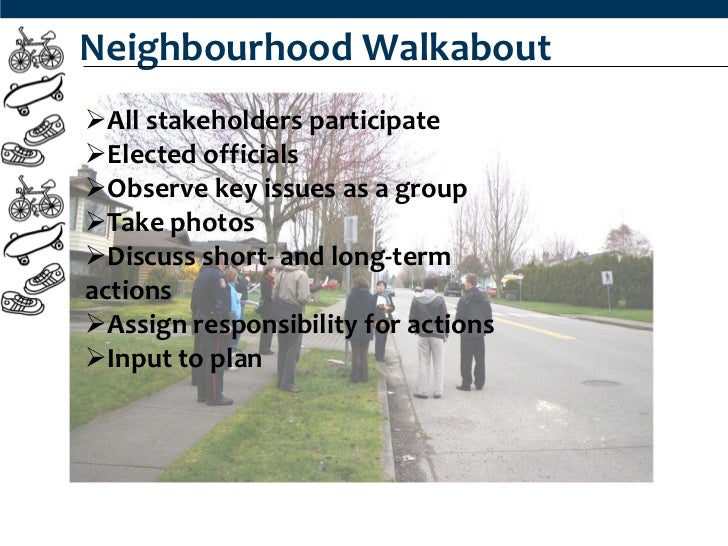 Neighbourhood WalkaboutAll stakeholders participateElected officialsObserve key issues as a groupTake photosDiscuss s...