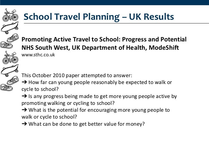 School Travel Planning – UK ResultsPromoting Active Travel to School: Progress and PotentialNHS South West, UK Department ...