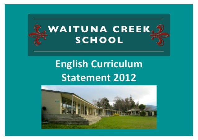 WAITUNA CREEK   SCHOOLEnglish	  Curriculum	   Statement	  2012