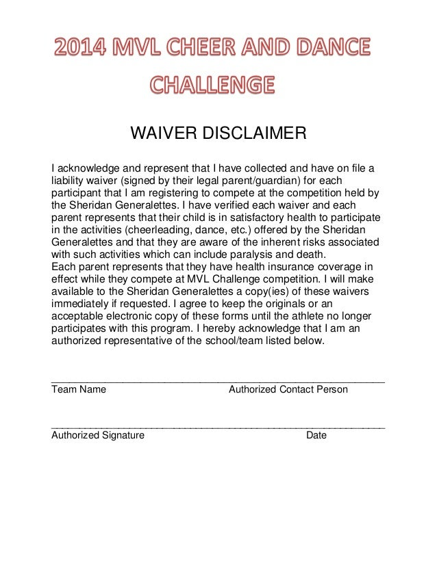 Waiver disclaimer 2014 waiver disclaimer i acknowledge and represent that i have collected and have on file a liability pronofoot35fo Gallery