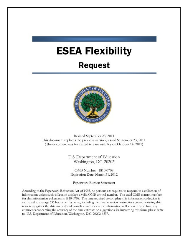 ESEA Flexibility Request Revised September 28, 2011 This document replaces the previous version, issued September 23, 2011...
