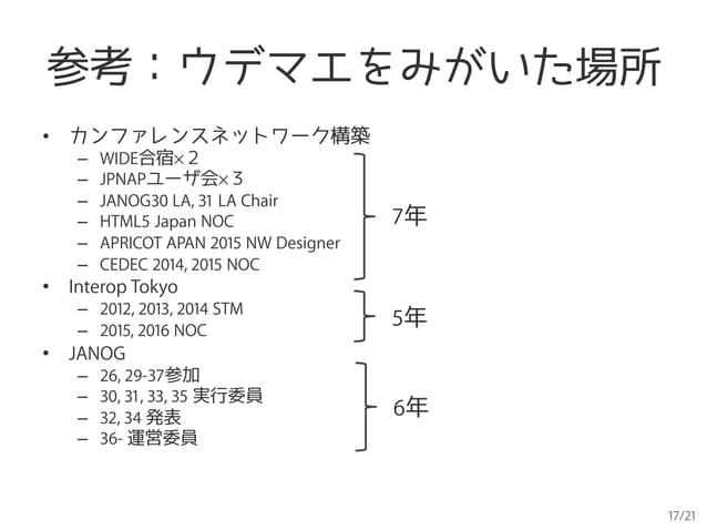 17/21 参考:ウデマエをみがいた場所 • カンファレンスネットワーク構築 – WIDE合宿×2 – JPNAPユーザ会×3 – JANOG30 LA, 31 LA Chair – HTML5 Japan NOC – APRICO...