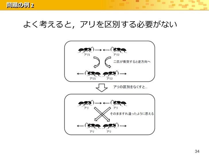 問題の例 2   よく考えると,アリを区別する必要がない                         34