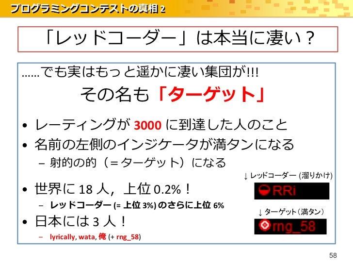 プログラミングコンテストの真相 2  「レッドコーダー」は本当に凄い? ……でも実はもっと遥かに凄い集団が!!!               その名も「ターゲット」 • レーティングが 3000 に到達した人のこと • 名前の左側のインジケータ...