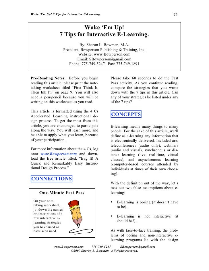 Wake 'Em Up! 7 Tips for Interactive E-Learning.                                           75                             W...