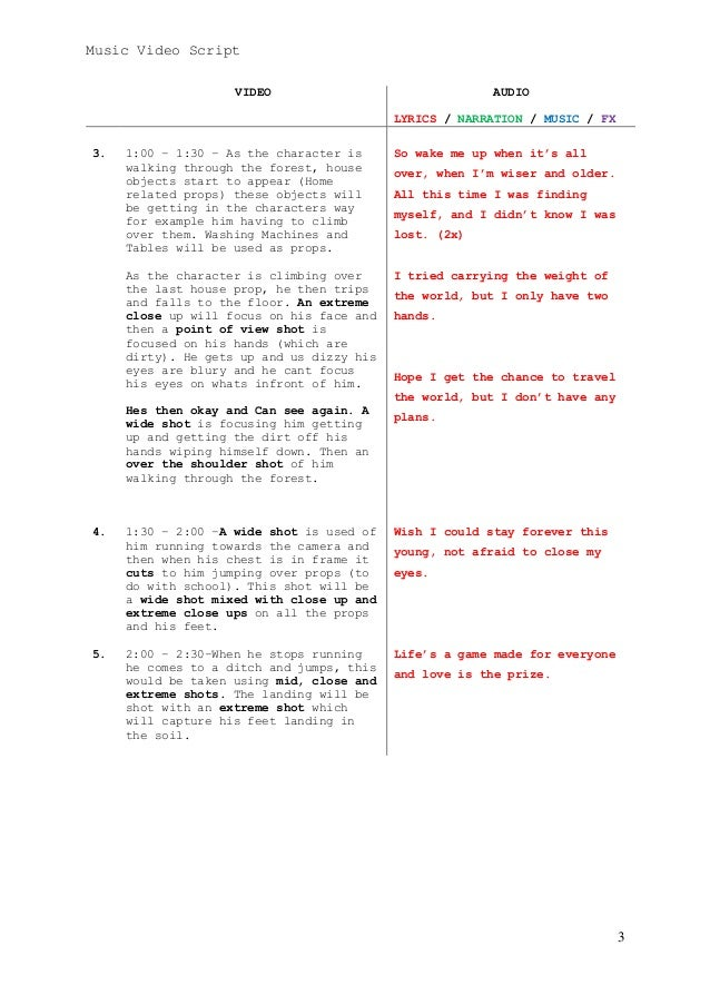 Wake me up second draft music video script by lewis dunn