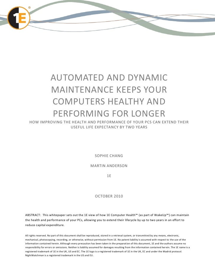AUTOMATED AND DYNAMIC                      MAINTENANCE KEEPS YOUR                      COMPUTERS HEALTHY AND              ...