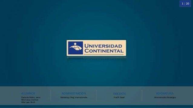 1 | 20 ALUMNOS Clemente Matos, Jaime Ortiz Casas, Cristhian Villar Lapa, Roció ASIGNATURA Administración Estratégica DOCEN...