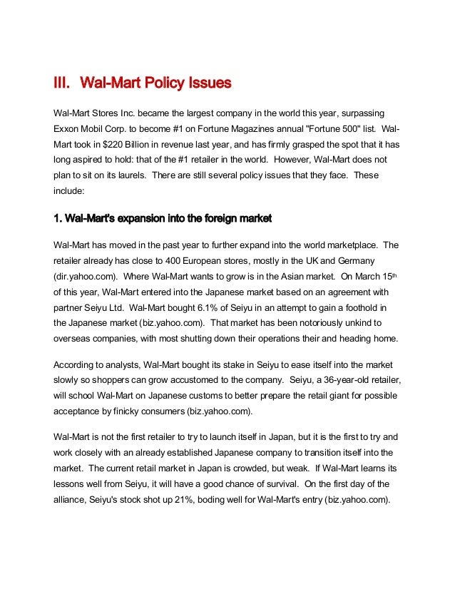 case study wal mart's foreign expansion Until 1991, wal-mart's operations were confined to the united states, where it  established a competitive advantage  economic & market indicators swot  analysis benchmarking  wal-mart's global expansion strategy  fell during the  1990s, it became possible for wal-mart to enter foreign nations on a significant  scale.