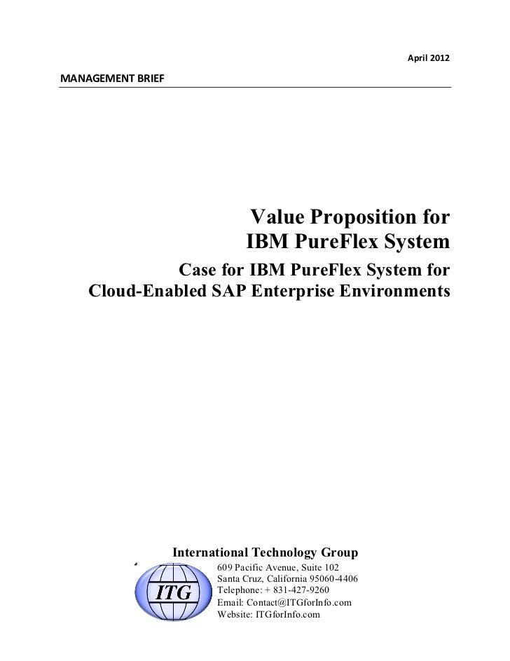 April 2012 MANAGEMENT BRIEF                                         Value Proposition for                         ...