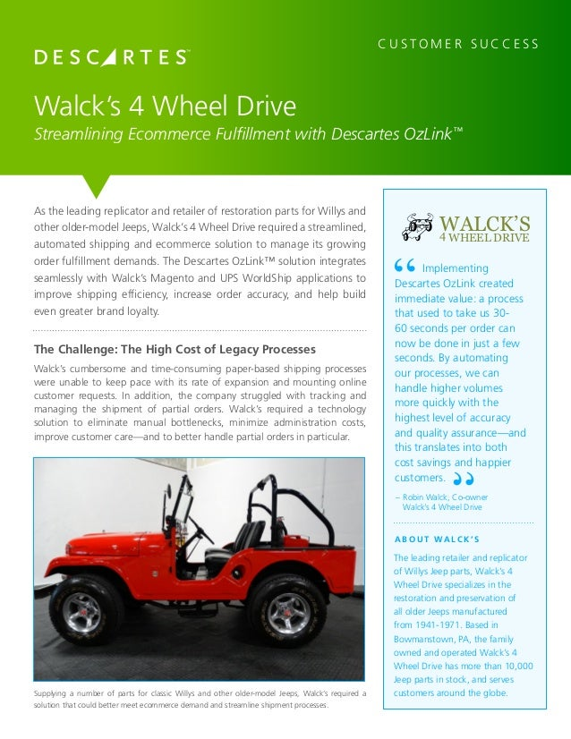 Walcks 4 Wheel Drive Streamlines E-Commerce with OzLink