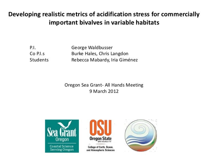 Developing realistic metrics of acidification stress for commercially             important bivalves in variable habitats ...