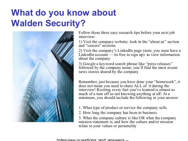 Walden security interview questions and answers